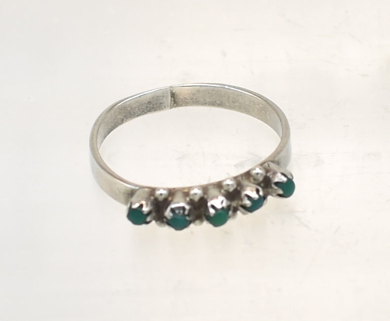 Vintage Petit Point Southwest Style Sterling Silver Ring - Size 8.125