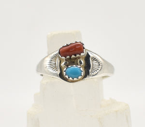 Vintage Turquoise and Red Coral Larger Sterling Silver Ring - Size 11