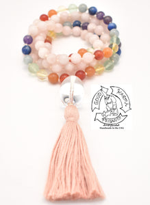 """Rose Quartz Chakra"" - Quartz, Rose Quartz, and Chakras Handmade 108 Stone Mala"