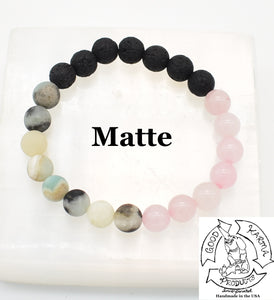 """Soothing and Loving Diffuser"" - Rose Quartz, Amazonite, and Lava Stone Bracelet"