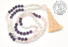 "Load image into Gallery viewer, ""Mother's Love"" - Rose Quartz, Amethyst, and Moonstone 108 Stone Handmade Mala"