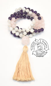 """Mother's Love"" - Rose Quartz, Amethyst, and Moonstone 108 Stone Handmade Mala"