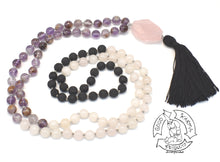 "Load image into Gallery viewer, ""Transitioning Love Diffuser"" - Super 7 Quartz, Rose Quarts, and Lava Stone 108 Stone Mala"
