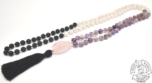 """Transitioning Love Diffuser"" - Super 7 Quartz, Rose Quarts, and Lava Stone 108 Stone Mala"