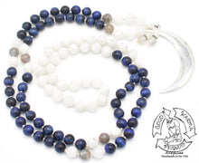 "Load image into Gallery viewer, ""Blue Silver Moon"" - Sterling, Moonstone, Blue Tiger Eye, and Labradorite Handmade 108 Stone Mala"