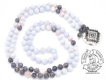 "Load image into Gallery viewer, ""Silver Shield"" - Sterling, Blue Lace Agate, Kunzite, and Iolite Handmade 108 Stone Mala"