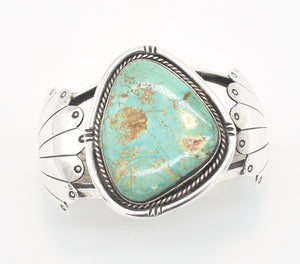 Larger Slab Turquoise and Sterling Silver Southwestern Cuff