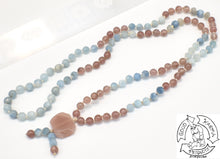 "Load image into Gallery viewer, ""Strawberry Sun Waves"" - Strawberry Quartz, Aquamarine, and Sunstone 108 Stone Petite Mala"
