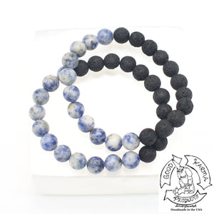 """Balancing Diffuser"" - Sodalite and Lava Stone Bracelet"