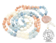 "Load image into Gallery viewer, ""Celestial Power"" - Sunstone, Aquamarine, and Moonstone,  Handmade 108 Stone Mala"