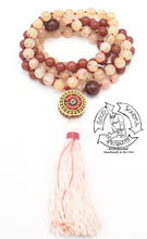 "Load image into Gallery viewer, ""Shielding Leader"" - Tibetan Bead, Champagne Quartz, Sunstone, and Carnelian Handmade 108 Stone Mala"