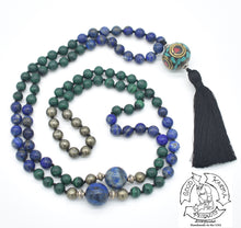 "Load image into Gallery viewer, ""Playing Planets"" - Tibetan Bead, Lapis Lazuli, Malachite, and Pyrite Handmade 108 Stone Mala"