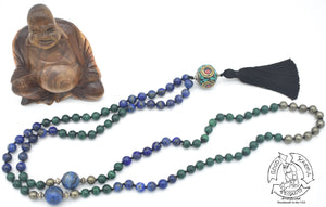 """Playing Planets"" - Tibetan Bead, Lapis Lazuli, Malachite, and Pyrite Handmade 108 Stone Mala"