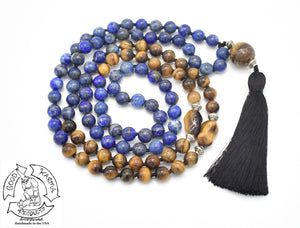 """The Tiger Within"" - Tiger Eye and Lapis Lazuli Handmade 108 Stone Mala"