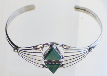 Sterling Silver Native American Cuff Bracelet with Malachite Triangles