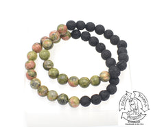 "Load image into Gallery viewer, ""Leveling Diffuser"" - Unakite and Lava Stone Bracelet"