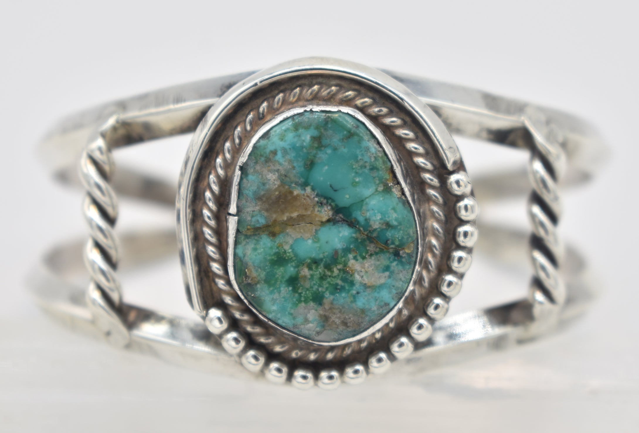 Vintage Green Turquoise Sterling Silver Cuff