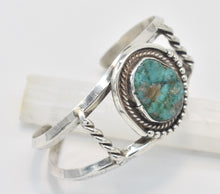 Load image into Gallery viewer, Vintage Green Turquoise Sterling Silver Cuff