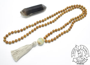 Mala Handmade with 108 Wood Jasper Stone Beads