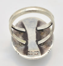 "Load image into Gallery viewer, White Buffalo Turquoise Sterling Silver ""P.A. Smith"" Stamped Ring- Size 12"