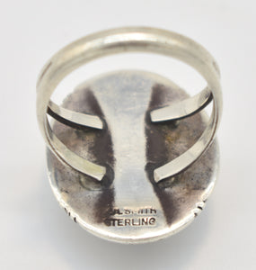 "White Buffalo Turquoise Sterling Silver ""P.A. Smith"" Stamped Ring- Size 12"