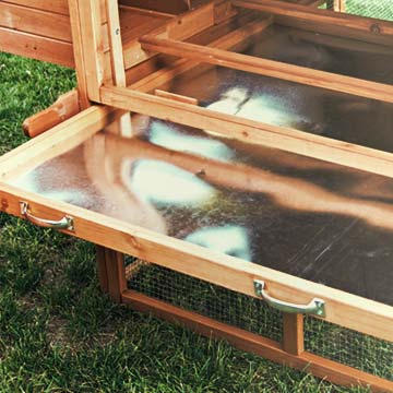 A galvanized steel tray, slid out partially from the bottom of a chicken coop