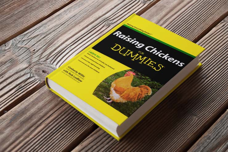 A copy of the book Raising Chicken for Dummies on a wooden outdoor table