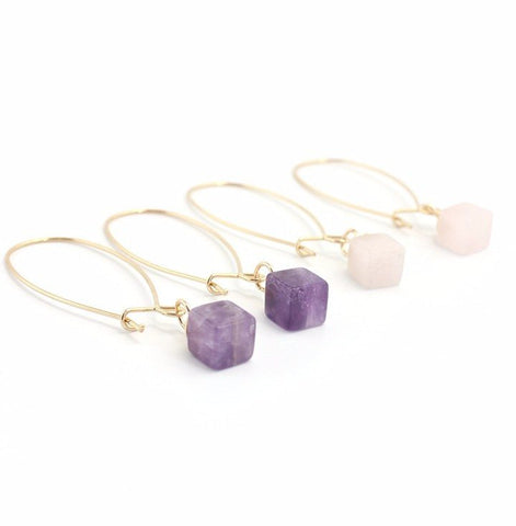 Natural healing stone cube earrings - Stones and Sparkles