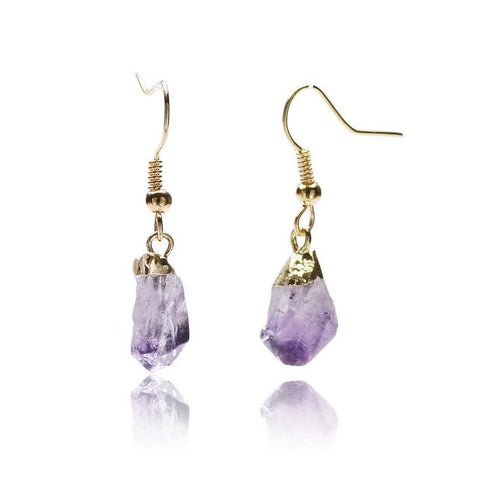 Natural healing stones long drop earrings - Stones and Sparkles