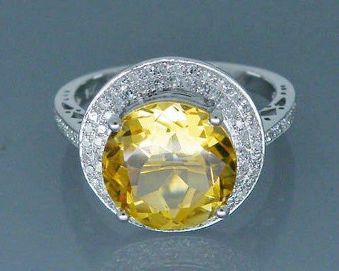 14K White Gold Natural Citrine and Diamonds Ring