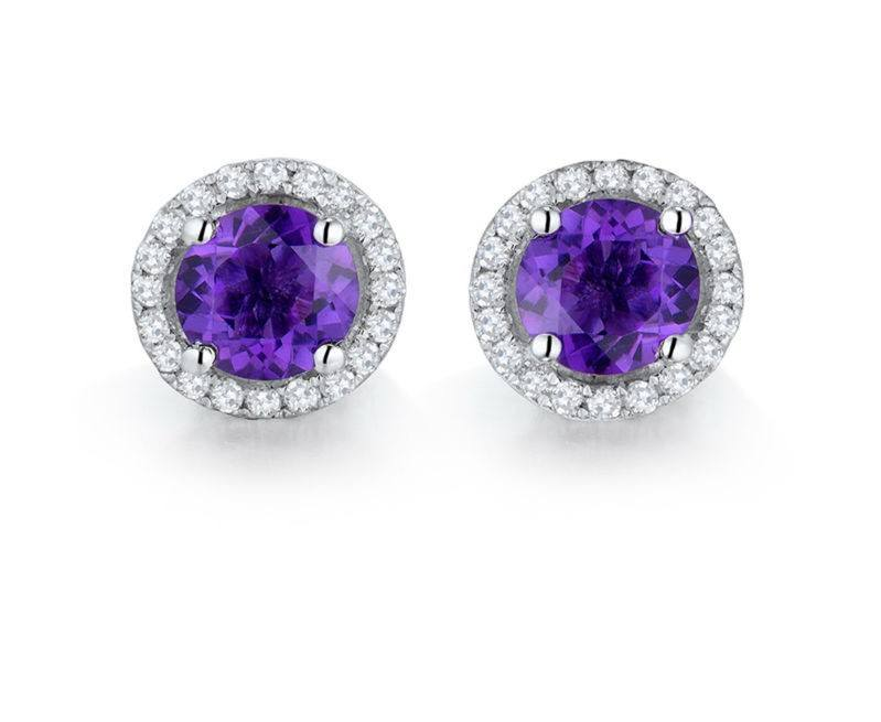 14K white gold amethyst and diamonds earrings