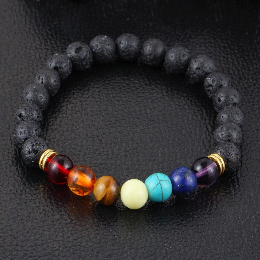 7 chakra healing natural stones beads and lava stones bracelet - Stones and Sparkles