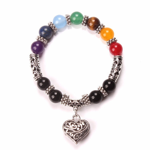7 Chakra Natural Stones Heart Bracelet - Stones and Sparkles