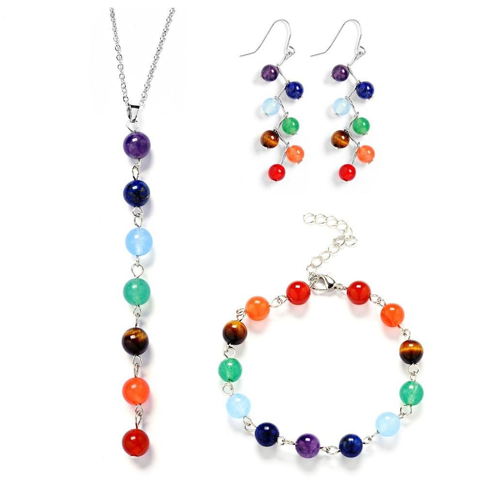7 Chakra Natural Stone Beads Jewelry Set - Stones and Sparkles