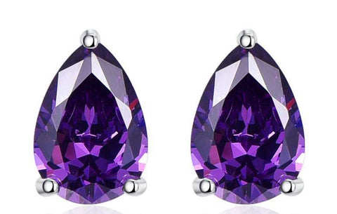 Amethyst stone Sterling Silver Stud Earrings - Stones and Sparkles