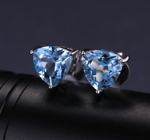 Natural Sky Blue Topaz Sterling Silver Stud Earrings - Stones and Sparkles