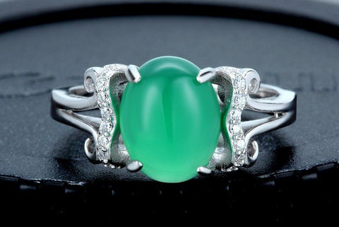 Natural Chrysoprase Stone Sterling Silver Ring - Stones and Sparkles