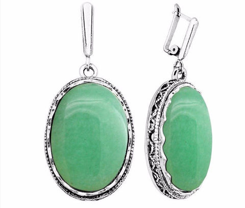 Jade Antique Silver plated earrings