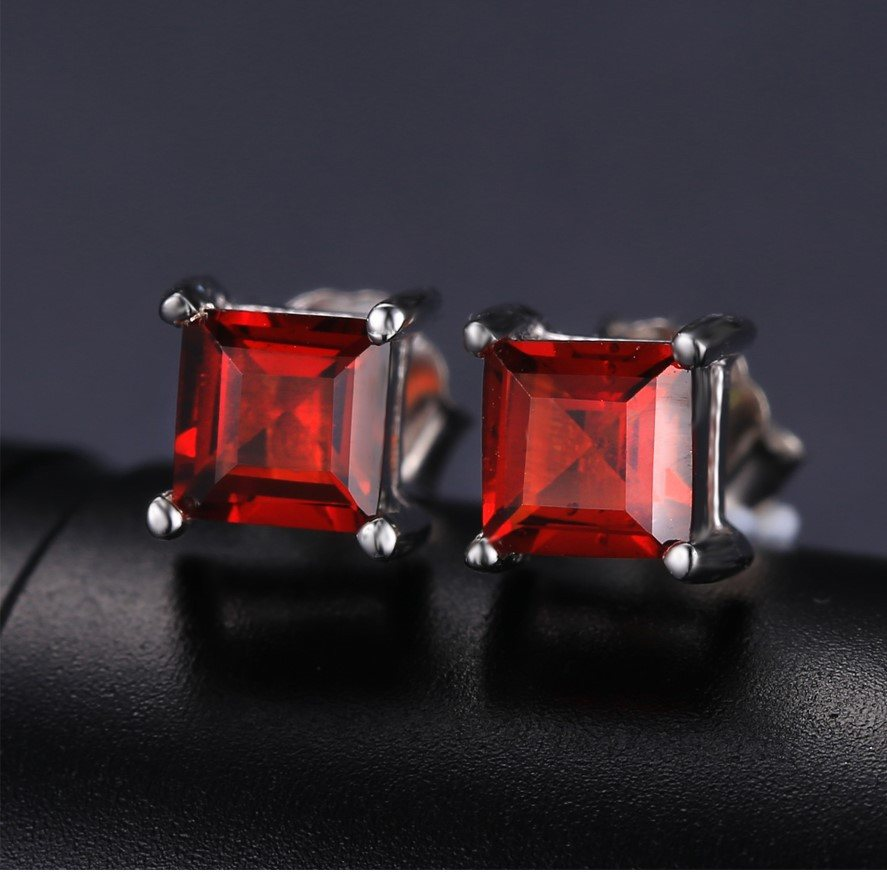 Natural Garnet Stone Sterling Silver Stud Earrings - Stones and Sparkles