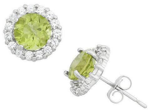 Peridot 10K gold halo stud earrings
