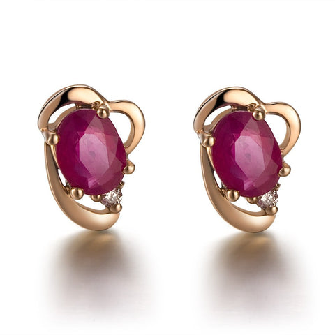 Natural Ruby Stone Earrings in 18K Gold - Stones and Sparkles