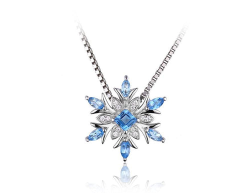 Natural Topaz Snowflake Pendant Necklace in Sterling Silver - Stones and Sparkles