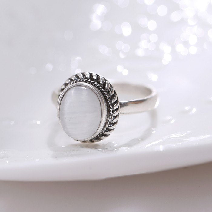 Antique Silver plated Opal Stone Ring - Stones and Sparkles