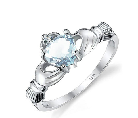 Natural healing aquamarine Sterling Silver ring