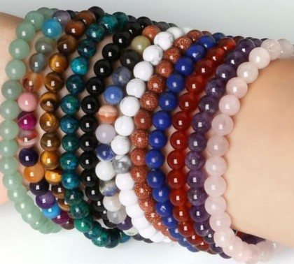 Natural Stone Beads stretch Bracelets - Stones and Sparkles