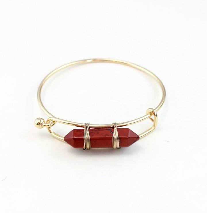 Gold Plated Natural Stone Bangle Bracelet - Stones and Sparkles