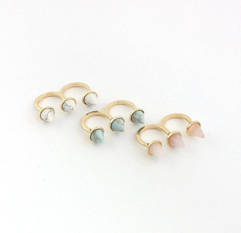 Natural Howlite/Turquoise/Rose quartz stone double 'U' Ring - Stones and Sparkles