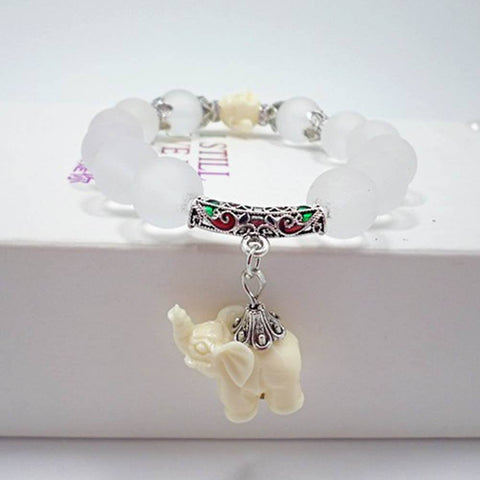 Natural frosted quartz crystal elephant charm bracelet - Stones and Sparkles
