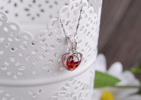 Natural Stone Garnet Heart shaped Pendant Necklace - Stones and Sparkles