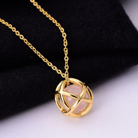Natural stone hollow out trendy gold plated necklace - Stones and Sparkles